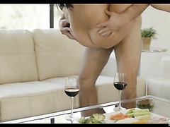 Exotic brunette MILF Kristina Rose makes love after a glass of wine