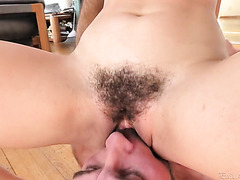 Petite and hairy Riley Reid gets her beaver eaten and plowed