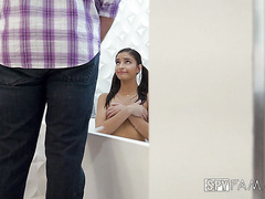 Young stepdaughter Emily Willis is facesitting stepdad for peepin on her