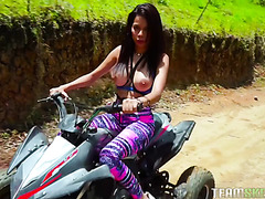 Busty Colombian Mila Garcia rides dick after a quad bike