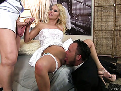 Cuckold groom watches his bride Aaliya Love making out best man