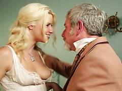 Slutty blonde babe Anikka Albrite having sex with an older man in a cosplay