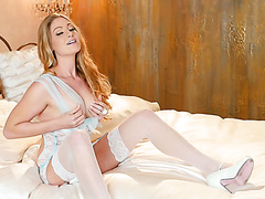 Gorgeous nymph Veronica Weston gently fingers her pussy