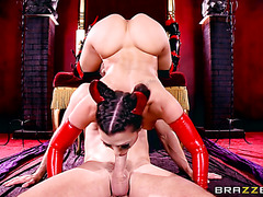 Kinky MILF in latex getting banged on a devil's throne