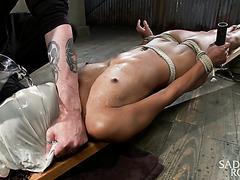 Tight ebony Nikki Darling's BDSM WATERBOARDNING TORTURE