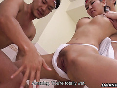 Stunning Japanese Amiru Kinohara is filled with cum by two pervs