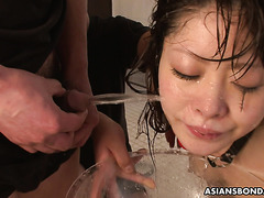 Piss slave Ululu Nanami is showered and drowned in urine