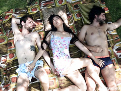 Sharing Japanese GF Katana with best friend in erotic threesome outdoors