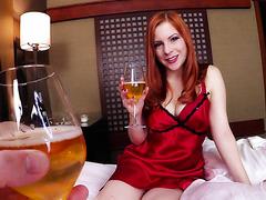 Drunk redhead MILF Lady Fyre embraces stepson's long dick POV