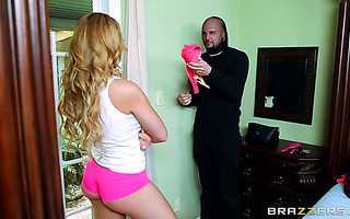 Lovely Skyla Novea getting banged rough by a panty robber