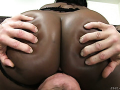 Big ass ebony girl Janea getting fucked by a White guy in a basement