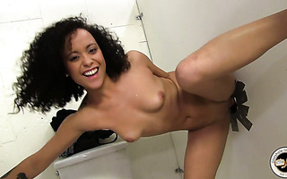 Curly Black Chick Mia Sucking On A Gloryhole And Fucks It Till Facialed