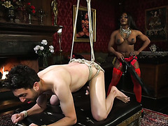 Black bodybuilder mistress Kelli Provocateur punishes her white slave