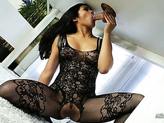 Hot Asian Mia Li in bodystockings fucks her client in a massage parlor