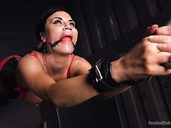 Gagged and handcuffed Jasmine Jae gets her ass destroyed by her master