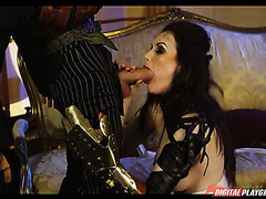 Steampunk chick Tina Kay takes big dick in her mouth and ass