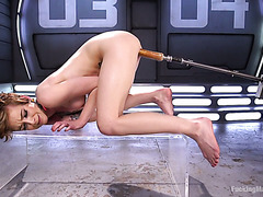 Jeze Belle uses a magic wand and while testing fucking machine