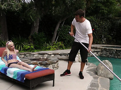 A pool guy fucks flat and skinny blonde girl Piper Perri