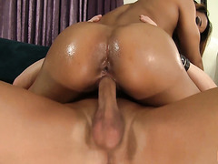 Fit booty of athletic exotic babe Sophia Fiore makes one more guy happy