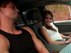 Sofi Goldfinger gives a ride to a guy and then rides his dick