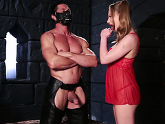 Sexy Carter Cruise in red negligee fucks a man in a dungeon