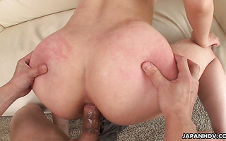 Double penetration and anal creampie with hot Asian MILF Kaede Oshiro