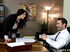 Busty lady boss Romi Rain fucks in office at a business meeting