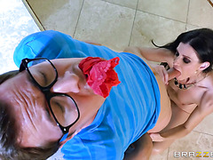 Mature India Summer puts panties in guy's mouth and ride his dick