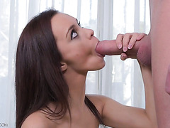 Skinny French babe Lea Guerlin gets screwed and fed with semen