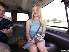 Adventurous white girl Bailey Brooke gets fucked in bangbus for some cash