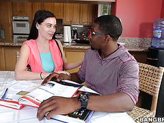 Naughty college girl Lana Rhoades fucks her black tutor at home