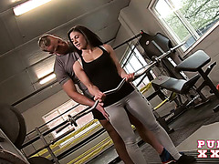 Personal trainer doggyfucks the shit out of hot client babe Athina
