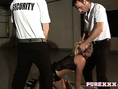Poor Angel Long gets fucked rough by two security guys