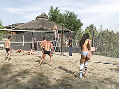 Three girls got fucked in orgy by new friends after playing volleyball on a beach