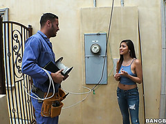 Handsome electrician gives the good dick to naughty Nina North