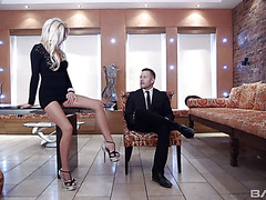 Classy blonde MILF does everything she can to fuck a suit up guy