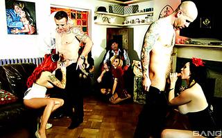Nasty foursome sex with British sluts Jasmine James and Billie Rai