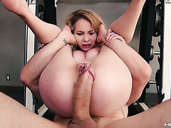 J's huge fat cock pounds tiny asshole of petite Angel Smalls
