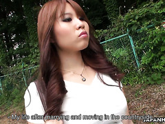 Housewife Eri Makino masturbates on the way back home