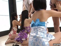 Three naughty Nippon ladies in short dresses enjoy dick sucking session