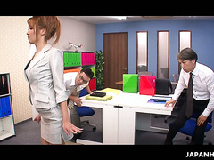 Office slut Naami Hasegawa gets fucked in both holes by two colleagues