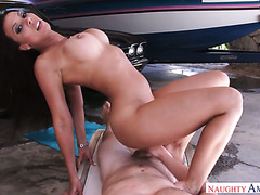 Big boobed MILF Rachel Starr jumps on POV cock after washing a car