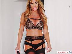 Cougar Farrah Dahl in stockings and lingerie mounts young big cock