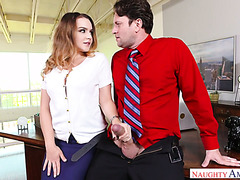 Lady boss Natasha Nice catches a guy watching porn at work and fucks him