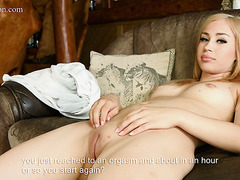 Alluring blondie Lilian Tiprova rubs clit and proves her virginity