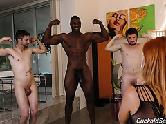 Two white guys with small wieners watch Edyn Blair fucking BBC