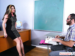 Mature teacher Nina Dolci fucks a guy during a private lesson