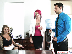 Two slutty office MILFs Juelz Ventura and Anna Bella Peaks fuck a big intern cock