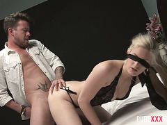 Blindfolded Samantha Bentley gets fucked by a fellow Brit